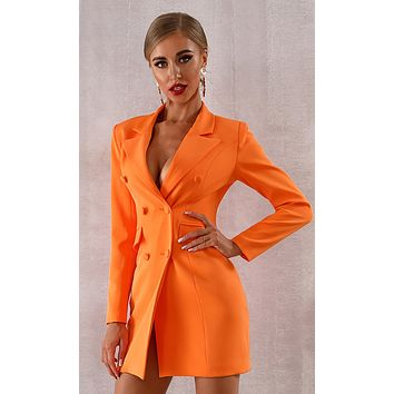 Living Out Loud Orange Long Sleeve V Neck Double Breasted Bodycon Blazer Jacket Coat Dress