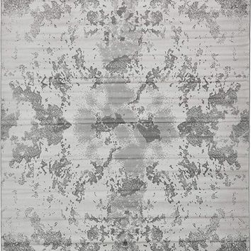 9909 Gray Abstract Contemporary Area Rugs