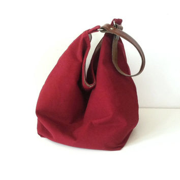 Cranberry Corduroy Hobo Bag  Slouchy Box Bag  by JuneberryStitches