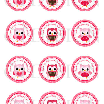 Owl stickers . 2 Inch Circles. Stickers, Cupcake Topper, Tags, great for birthday partys. Digital file