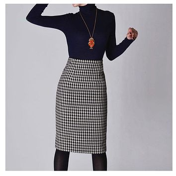 New 2017 Spring Autumn Winter Skirts Women High Waist Woolen Skirt Mid Long Houndstooth Skirt Slim Pencil Skirts Female