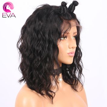"Short Lace Front Human Hair Wigs With Baby Hair Pre Plucked Hairline Brazilian Remy Bob Wig 10""-14"" Eva Hair Natural Color"
