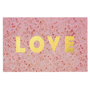 "Leah Flores ""Love Roses"" Pink Flowers Decorative Door Mat"