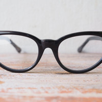 Vintage Style Eyeglasses cat eye By Lemon Eyeglass CO. Ebony color Frames Good size