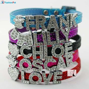 Personalized Bling Leather Dog or Cat Collars