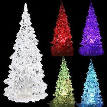 Crystal Mini LED Christmas Tree Night Light Lamp Colors Changing Party Decor Xmas Christmas Trees