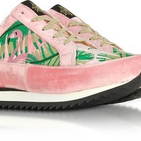 Charlotte Olympia Work It Flamingo Pink Velevet Lace Up Sneakers