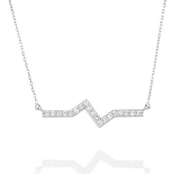Zig Zag Diamond Necklace| 14K Solid Gold White Gold, Line Necklace, Dainty Diamond Necklace, fashion Necklace