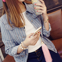 Long Sleeves Collared Buttoned Striped Denim Short Jacket