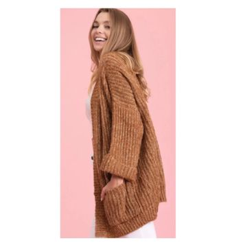 Cozy Me! Oversized Chunky Knit Camel Chenille Sweater Cardigan