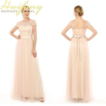 Coral Pink Bridesmaid Dresses Real Pictures Long Dresses for Wedding Guests With Cap Sleeve 2017 Lace Tulle Maidf of Honor Dress