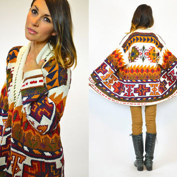 Bohemian Earth Angel Knitted Navajo CARDIGAN Sweater