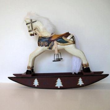 Large Vintage Wooden Rocking Horse, Primitive Folk Art, Toy, Home and Living, Country home decor, Kids