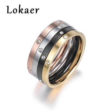 Lokaer 4 In 1 Colorful Gold Cubic Zirconia Rings Jewelry Titanium Steel Wedding Engagement Ring For Women Anneaux R180160500