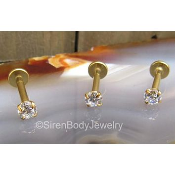 "Yellow gold tragus earring 16g 5/16""  2mm gem flat back labret stud internally threaded"