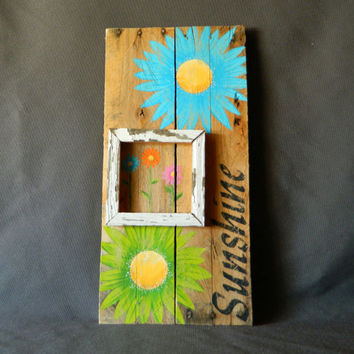 Bright Hand painted Gerber Daisies with boxed in feature, Wall art, barnwood, Reclaimed Wood Pallet Art, Rustic and Shabby Chic