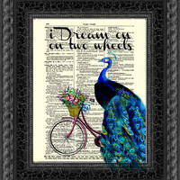 I Dream on Two Wheels Peacock Riding a Bicycle on Antique Dictionary Page, Wall Decor, Mixed Media Collage, Upcycled Art, Buy 2 Get 1 Free