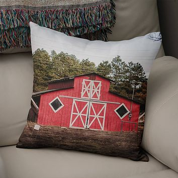 Rustic Red Barn Throw Pillow Cover- 5 Sizes