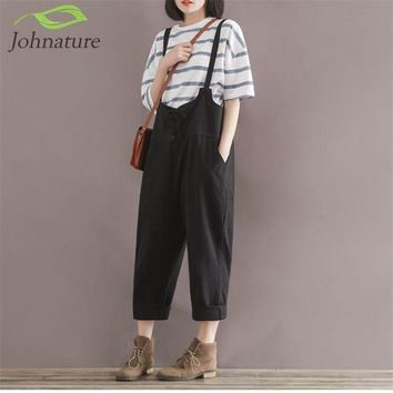 ESBONHS Johnature 2017 Summer New Loose Girl Rompers Solid Cotton Linen Vintage Casual Brief Pockets Rompers Womens Jumpsuit