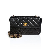 Chanel Vintage Jewelry - Quilted Leather Mini Flap Bag in Black