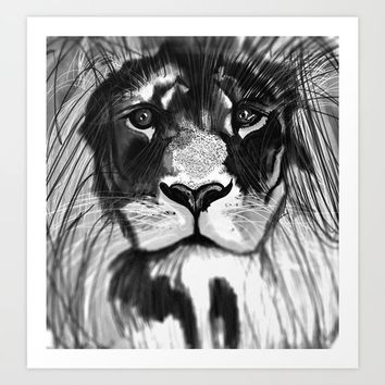 Noble Lion Art Print by Pablo Prada