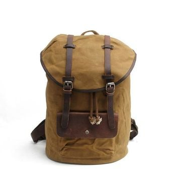 Vintage Retro Canvas Backpack Travel Casual Leather Bags for both Women and Men Bookbag