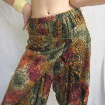 Vintage 80s BOHO Wrap HAREM PANTS Tribal Print  Size Medium