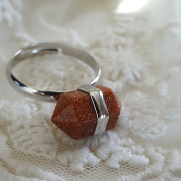 1- Copper Goldstone Gemstone Ring Silver Adjustable Sparkle Orange Chakra Stone Two Point Gem Bullet Stone Point Ring BuyDiy Fnished Jewelry