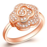 18K Rose Gold Plated Flowers Crystal Pave Cocktail Ring - Size 8