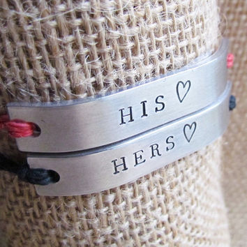 Set of 2 His and Hers Bracelets Friendship HEART Best Friends Custom Hand Stamped Tie On Hemp Cord Valentines Day Gift