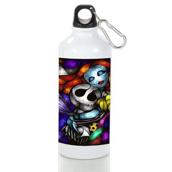 Gift Sport Bottles | Jack And Sally X Mas Love Stained Glasses Aluminum Sport Bottles