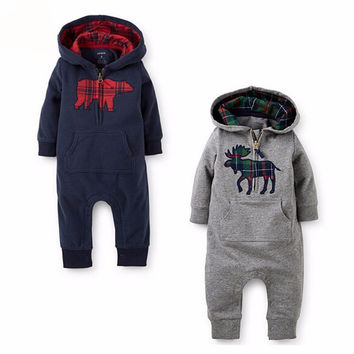 Choice of Warm Hooded Bear or Moose Romper Jumpsuits