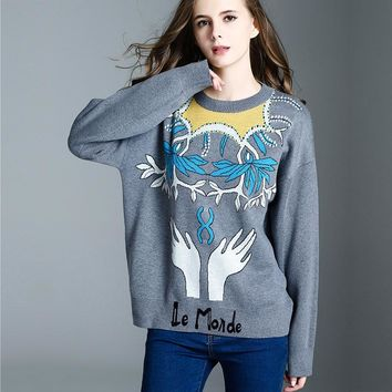 Fashion New Style Autumn Winter Embroidery Hand Pattern Knitting Sweater Coat Loose Ladies Casual Jumper Jersey