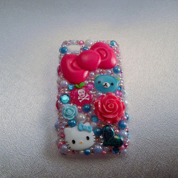 iPhone 4 Case Pink Blue Decoden Rhinestone Bling