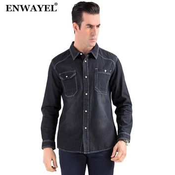 ENWAYEL Men's Shirts Cotton Denim Shirts Males Casual Shirts for Man High Quality Blue Modern Simple Classical Thin Jeans Shirts