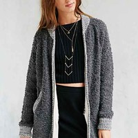 Silence + Noise Boucle Bomber Cardigan- Dark Grey
