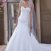 Sweetheart Fit and Flare Beaded Applique Gown - David's Bridal - mobile