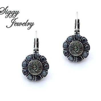 Daisy Flower Swarovski® Crystal Earrings, Black Diamond, Jet Hematite, Victorian Style Multi-Stone, Drop Lever Backs, Assorted Finishes