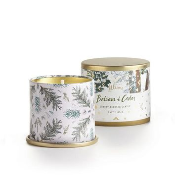 Balsam and Cedar Demi Tin Candle