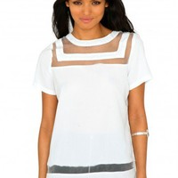 Missguided - Lacey Multi Mesh Panel Top In Cream
