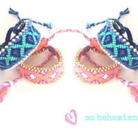 Chain bracelet. Handwoven Friendship Bracelet Blue Aztec . SS14 [2]