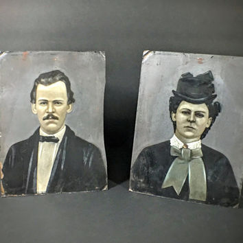 Antique Tintype Portraits- Husband and Wife- Full Plate