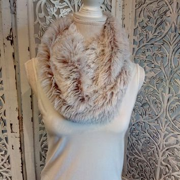 Infinity Scarf Soft Faux Fur and Knitted