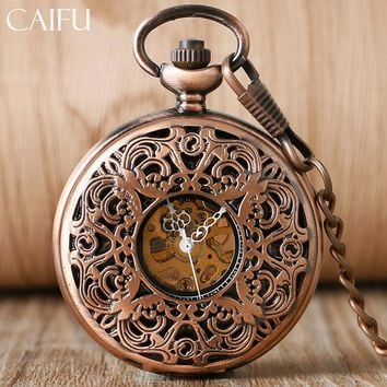 CAIFU Rose Gold Mens Pocket Watch Skeleton Movement Excellent Carving Flower Design Hand Wind Hollow Mechanical Nursing Watches