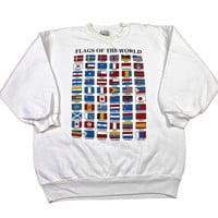 Vintage 90s Flags of The World Crewneck Made in USA Mens Size Large
