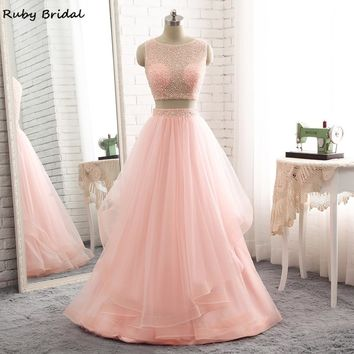 Ruby Bridal Luxury Long A-line Evening Dresses Sexy Pink Tulle Beaded Vestido De Festa Cheap Two Pieces Prom Party Gown R308