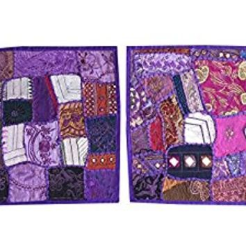 2 Decorative Indian Throw Pillow Cases Purple Embroidered Patchwork Cushion Cover 16