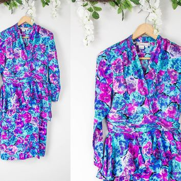 Vintage Floral Peplum Dress