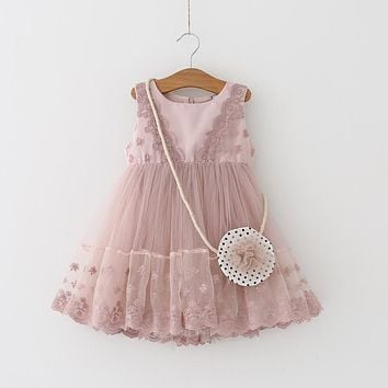 2017 Kids Girls Embroidery Dress Children Girl Sleeveless Birthday Party Dress Baby Princess Clothes with small wallet pink