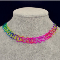 Rainbow Color Tattoo Choker